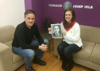 Josep Vall, director executiu de la Fundació Josep Irla, i Olga Palahí, guanyadora de la Beca