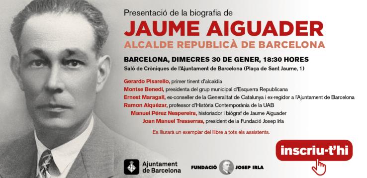 Targetó de l'acte de presentació del llibre de Jaume Aiguader
